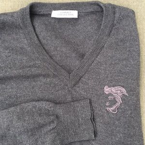 Versace Collection 100% Lama Wool V Neck Sweater